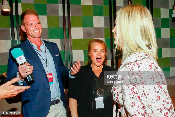 Jarrod Woodgate Yvie Jones and Keira Maguire attend the Fox FM Thank U Ex Singles Party on August 22 2019 in Melbourne Australia