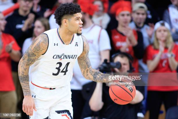 Jarron Cumberland of the Cincinnati Bearcats brings the ball up the court in the game against the North Carolina Central Eagles at Fifth Third Arena...