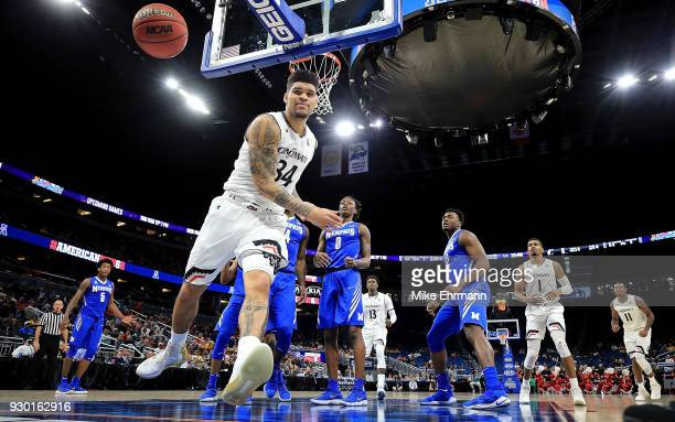 Jarron Cumberland of the Cincinnati Bearcats loses the ball during a semifinal game of the 2018 AAC Basketball Championship against the Memphis...
