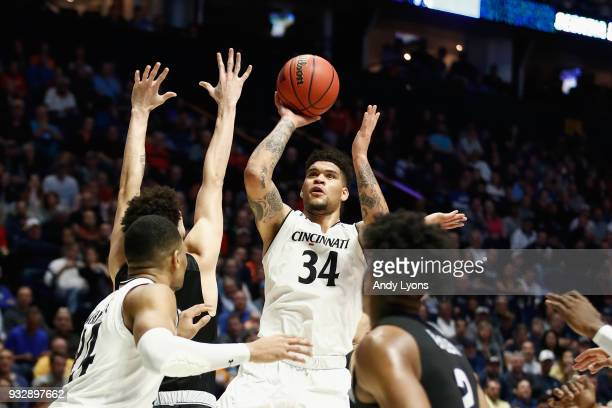 Jarron Cumberland of the Cincinnati Bearcats puts up a shot against the Georgia State Panthers during the game in the first round of the 2018 NCAA...