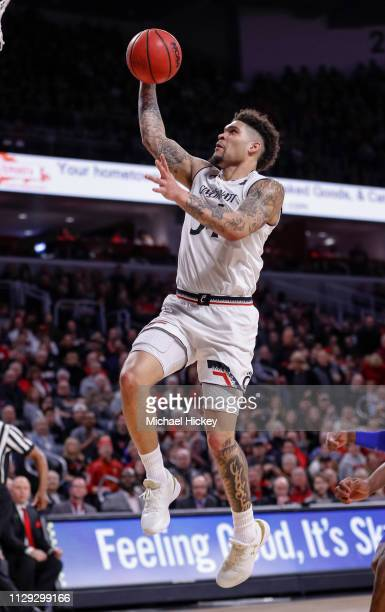 Jarron Cumberland of the Cincinnati Bearcats shoots the ball during the game against the Memphis Tigers at Fifth Third Arena on March 2 2019 in...
