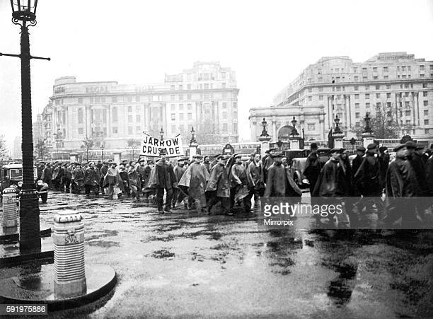 Jarrow marchers seen here arriving at Marble Arch on the