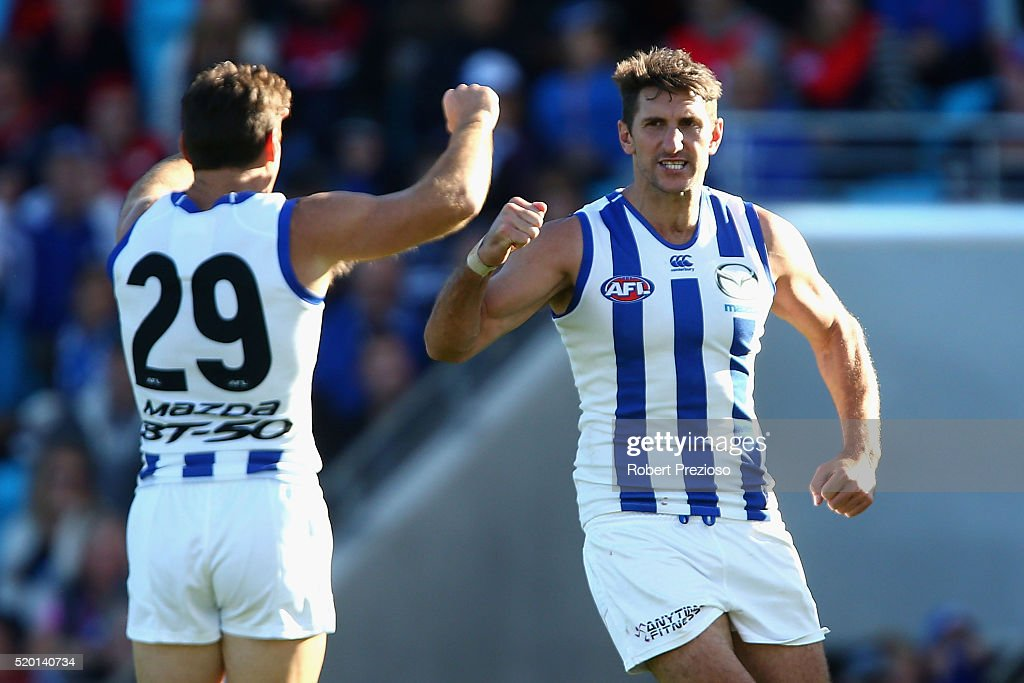 Jarrrad Waite of the Kangaroos celebrates a goal during the round three AFL match between the North Melbourne Kangaroos and the Melbourne Demons at Blundstone Arena on April 10, 2016 in Hobart, Australia.