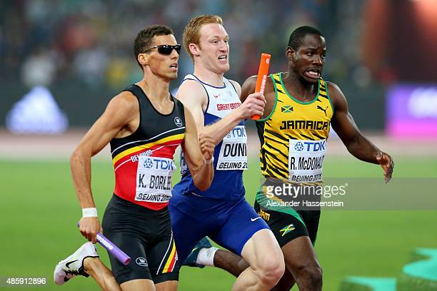 Jarryd Dunn of Great Britain competes in the Men's 4x400 Metres Relay final during day nine of the 15th IAAF World Athletics Championships Beijing...
