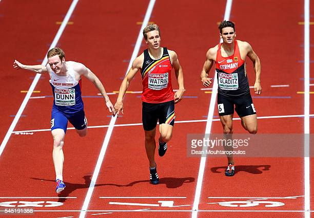 Jarryd Dunn of Great Britain dips for the line during his heat in the men's 400m on day one of The 23rd European Athletics Championships at Olympic...