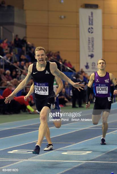 Jarryd Dunn of Great Britain wins the mens 400m during day two of the British Athletics Indoor Team Trials 2017 at the English Institute of Sport on...