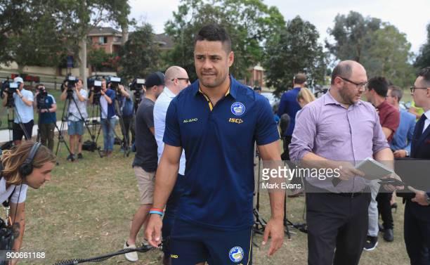 Jarryd Hayne after holding a press conference at Parramatta Eels training at Old Saleyards Reserve on January 3 2018 in Sydney Australia