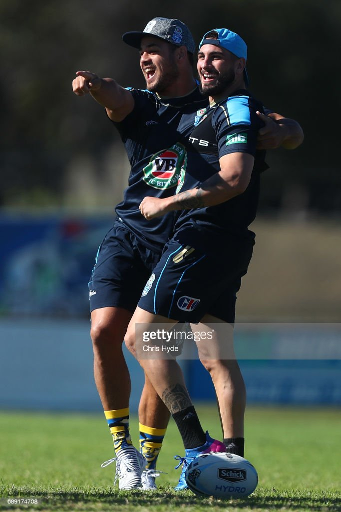 Jarryd Hayne and Jack Bird share a laugh during a New South Wales Blues Origin training session at Cudgen Leagues Club on May 28, 2017 in Kingscliff, Australia.