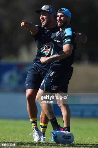 Jarryd Hayne and Jack Bird share a laugh during a New South Wales Blues Origin training session at Cudgen Leagues Club on May 28 2017 in Kingscliff...