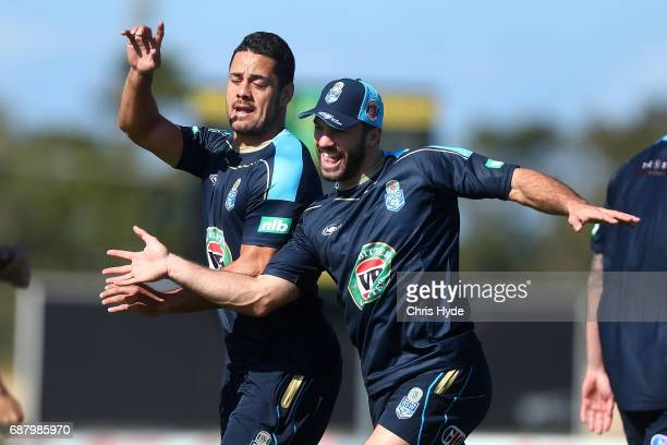 Jarryd Hayne and James Tedesco during a New South Wales Blues State of Origin training session at Cudgen Leagues Club on May 25 2017 in Kingscliff...