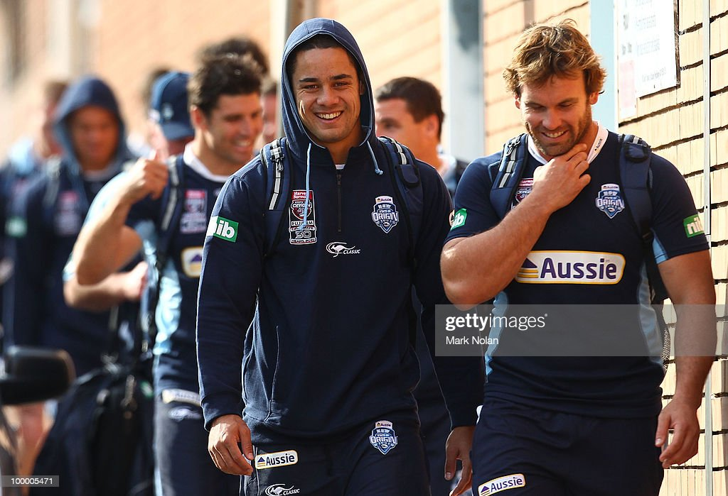 Jarryd Hayne and Josh Perry walk to a New South Wales Origin training session at WIN Stadium on May 20, 2010 in Wollongong, Australia.