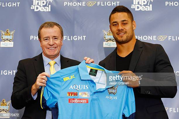 Jarryd Hayne and Titans CEO Graham Annesley during a press conference at Gold Coast Airport on August 3 2016 in Gold Coast Australia