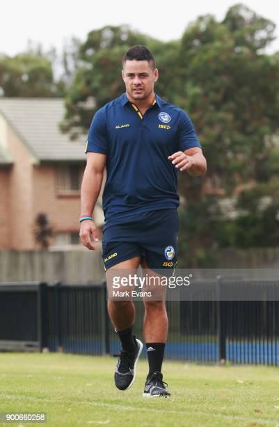 Jarryd Hayne arrives for a press conference after Parramatta Eels training at Old Saleyards Reserve on January 3 2018 in Sydney Australia