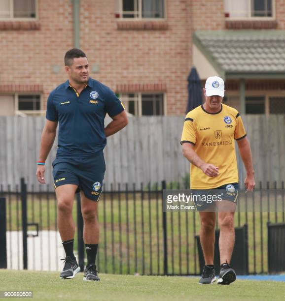Jarryd Hayne arrives for a press conference with Coach Brad Artur after Parramatta Eels training at Old Saleyards Reserve on January 3 2018 in Sydney...