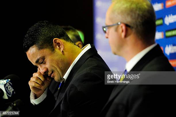 Jarryd Hayne becomes emotional as he speaks to media during a press conference to announce he is quitting the NRL to pursue NFL in America on October...