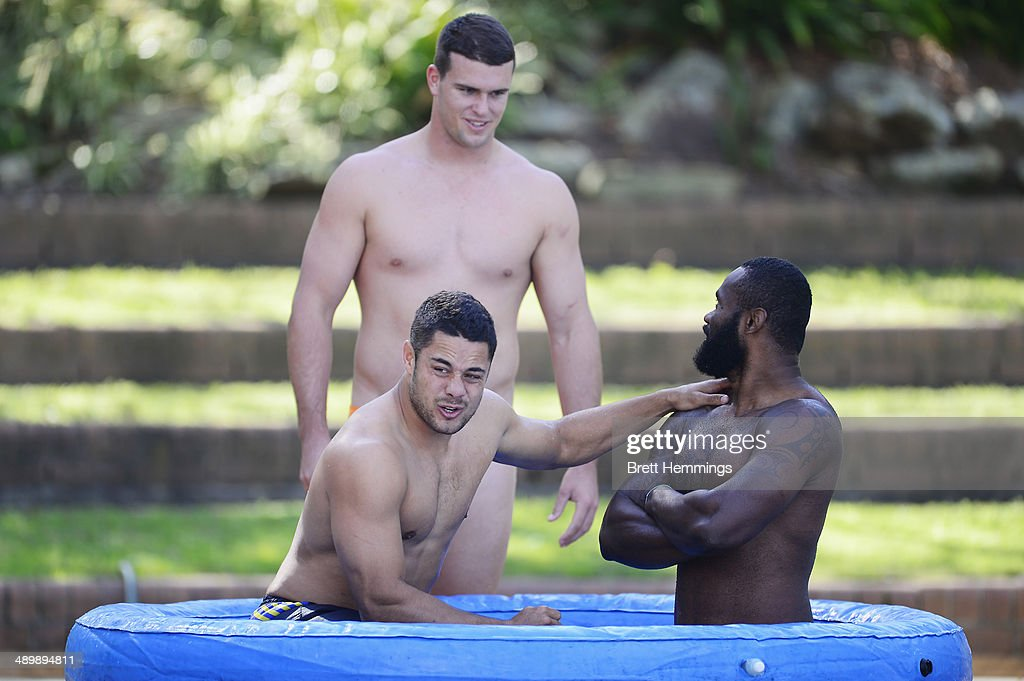 Jarryd Hayne, Darcy Lussick and Semi Radradra of the Eels cool off in an ice bath during a Parramatta Eels NRL recovery session at Pirtek Stadium on May 13, 2014 in Sydney, Australia.