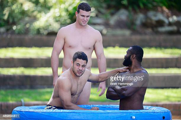 Jarryd Hayne Darcy Lussick and Semi Radradra of the Eels cool off in an ice bath during a Parramatta Eels NRL recovery session at Pirtek Stadium on...