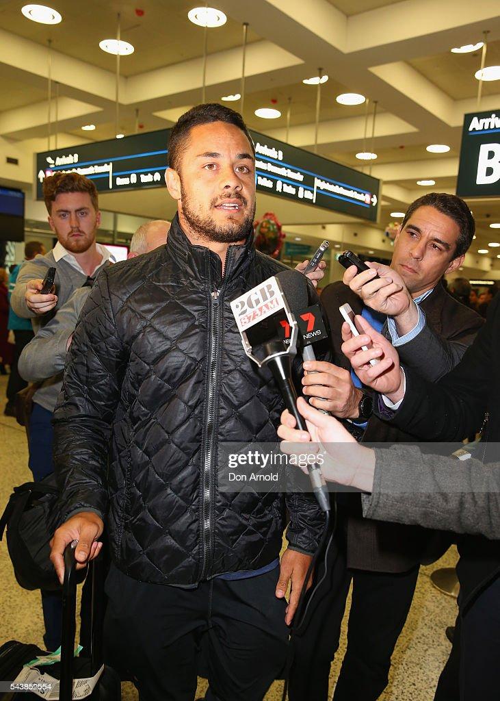 Semi Radradra & Jarryd Hayne Arrive At Sydney Airport