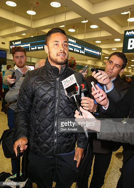 Jarryd Hayne is questioned by waiting media upon arrival at Sydney International Airport on June 30 2016 in Sydney Australia Radradra has been in...