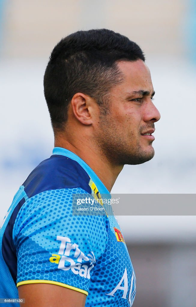 Jarryd Hayne looks on during a Gold Coast Suns NRL training session at CBus Super Stadium on March 1, 2017 in Gold Coast, Australia.