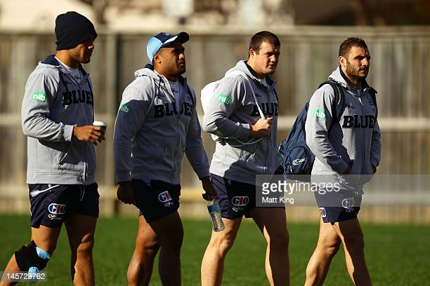 Jarryd Hayne Michael Jennings Josh Morris and Robbie Farah arrive at a New South Wales Blues state of origin training session at Coogee Oval on June...