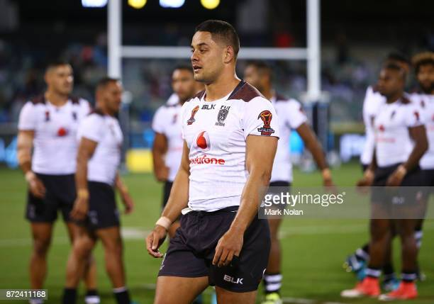 Jarryd Hayne of Fiji walks from the field after being sin binned during the 2017 Rugby League World Cup match between Fiji and Italy at Canberra...