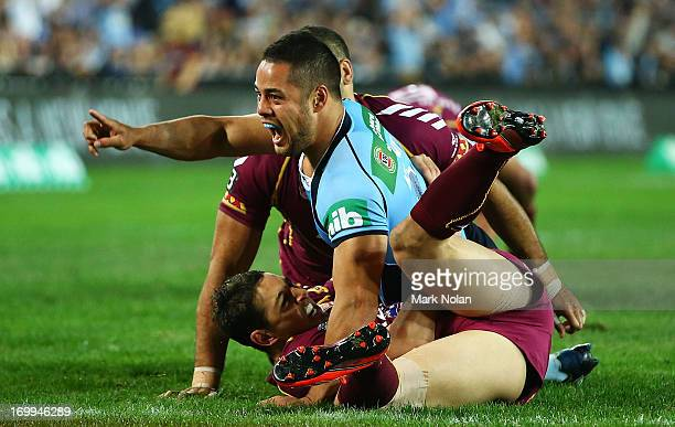 Jarryd Hayne of the Blues celebrates his try during game one of the ARL State of Origin series between the New South Wales Blues and the Queensland...