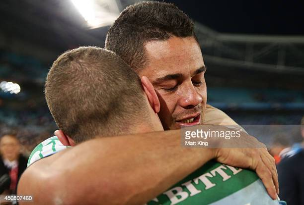 Jarryd Hayne of the Blues celebrates the series victory with Robbie Farah during game two of the State of Origin series between the New South Wales...