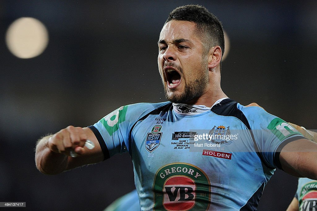 Jarryd Hayne of the Blues celebrates victory during game one of the State of Origin series between the Queensland Maroons and the New South Wales Blues at Suncorp Stadium on May 28, 2014 in Brisbane, Australia.