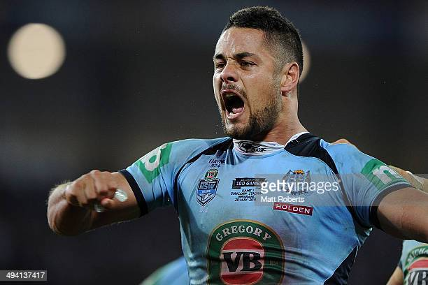 Jarryd Hayne of the Blues celebrates victory during game one of the State of Origin series between the Queensland Maroons and the New South Wales...