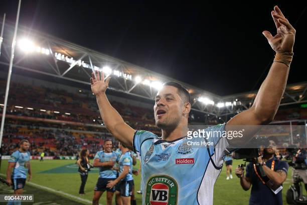 Jarryd Hayne of the Blues celebrates winning game one of the State Of Origin series between the Queensland Maroons and the New South Wales Blues at...