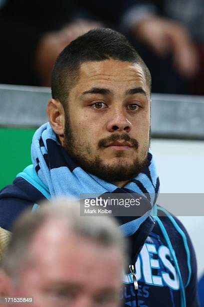 Jarryd Hayne of the Blues watches on from the bench during game two of the ARL State of Origin series between the Queensland Maroons and the New...