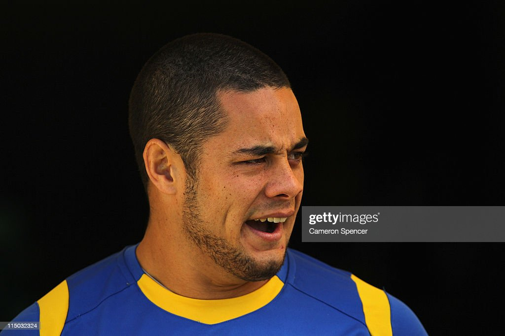 Jarryd Hayne of the Eels arrives at a Parramatta Eels NRL training session at Parramatta Stadium on June 2, 2011 in Sydney, Australia.