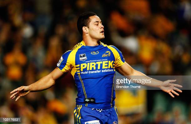 Jarryd Hayne of the Eels celebrates after scoring against the Roosters during the round 21 NRL match between the Parramatta Eels and the Sydney...