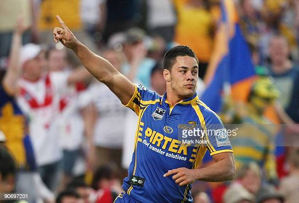 Jarryd Hayne of the Eels celebrates after scoring during the fourth NRL qualifying final match between the St George Illawarra Dragons and the...