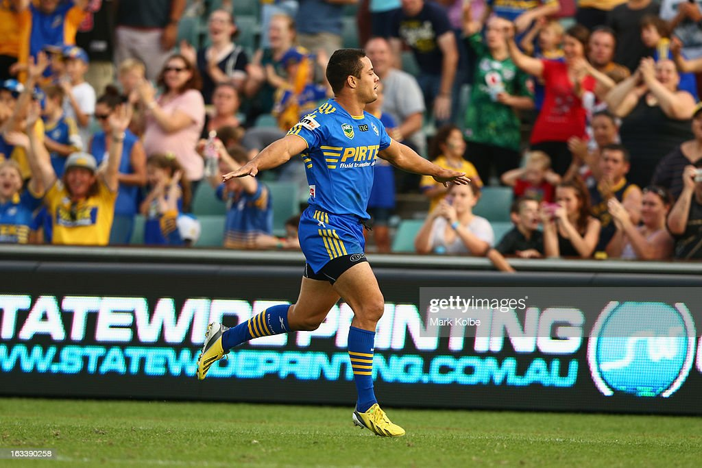 Jarryd Hayne of the Eels celebrates scoring a try during the round one NRL match between the Parramatta Eels and the Warriors at Parramatta Stadium on March 9, 2013 in Sydney, Australia.