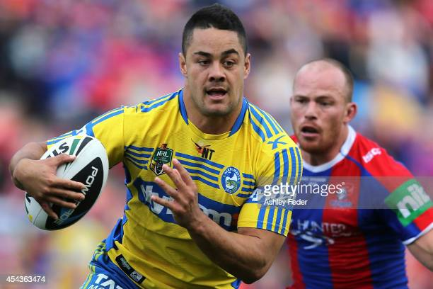 Jarryd Hayne of the Eels in action during the round 25 NRL match between the Newcastle Knights and the Parramatta Eels at Hunter Stadium on August 30...