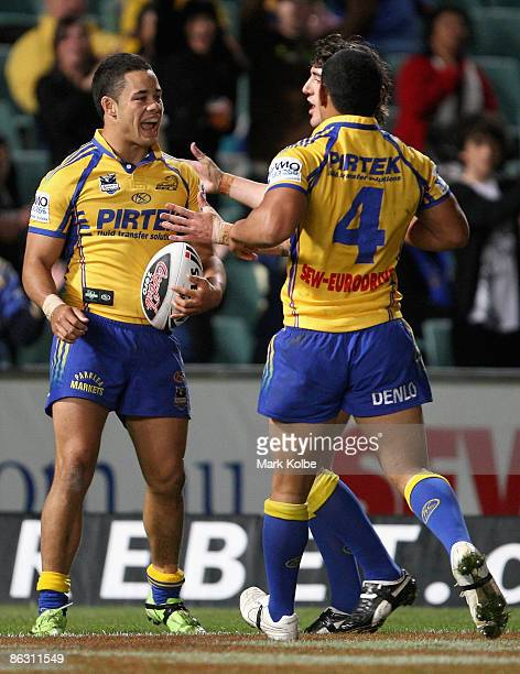 Jarryd Hayne of the Eels is celebrates with his team mates after scoring a try which was disallowed by the video referee during the round eight NRL...