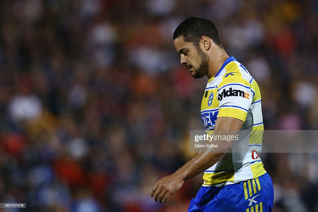 Jarryd Hayne of the Eels looks dejected during the round seven NRL match between the Penrith Panthers and the Parramatta Eels at Centrebet Stadium on April 29, 2013 in Penrith, Australia.