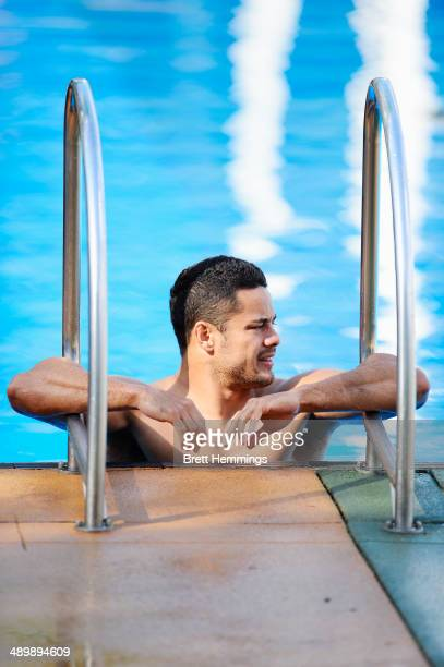 Jarryd Hayne of the Eels looks on during a Parramatta Eels NRL recovery session at Pirtek Stadium on May 13 2014 in Sydney Australia