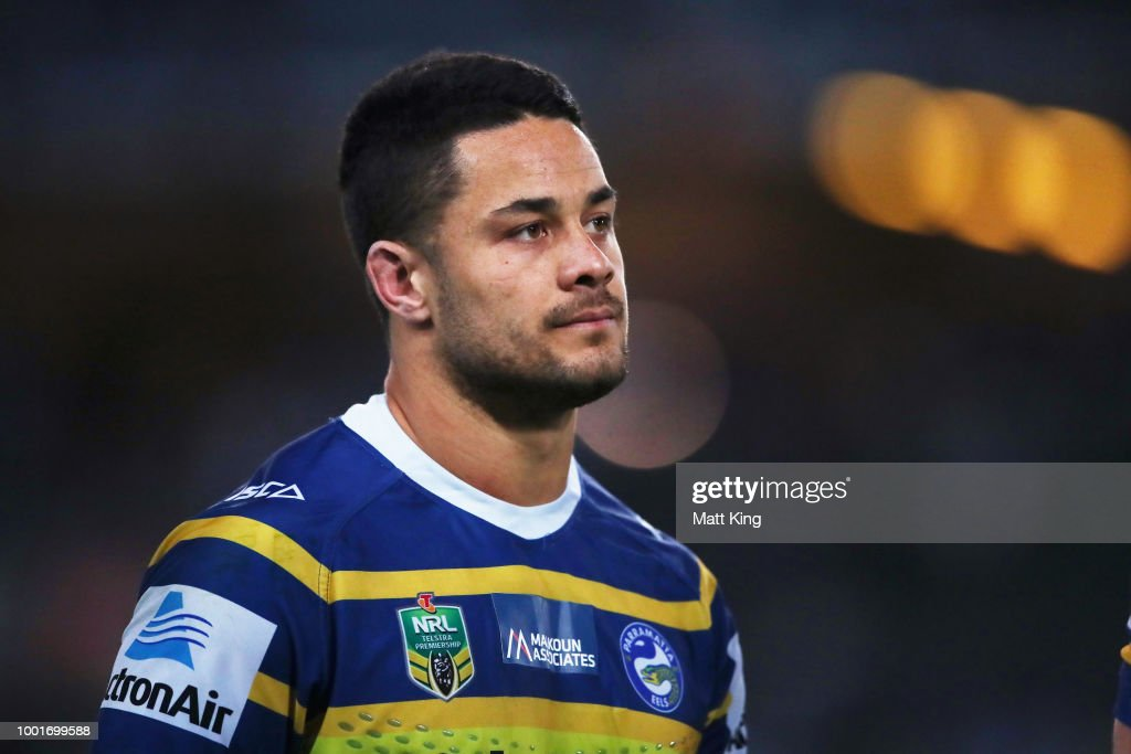 Jarryd Hayne of the Eels looks on during the round 19 NRL match between the Parramatta Eels and the Canterbury Bulldogs at ANZ Stadium on July 19, 2018 in Sydney, Australia.