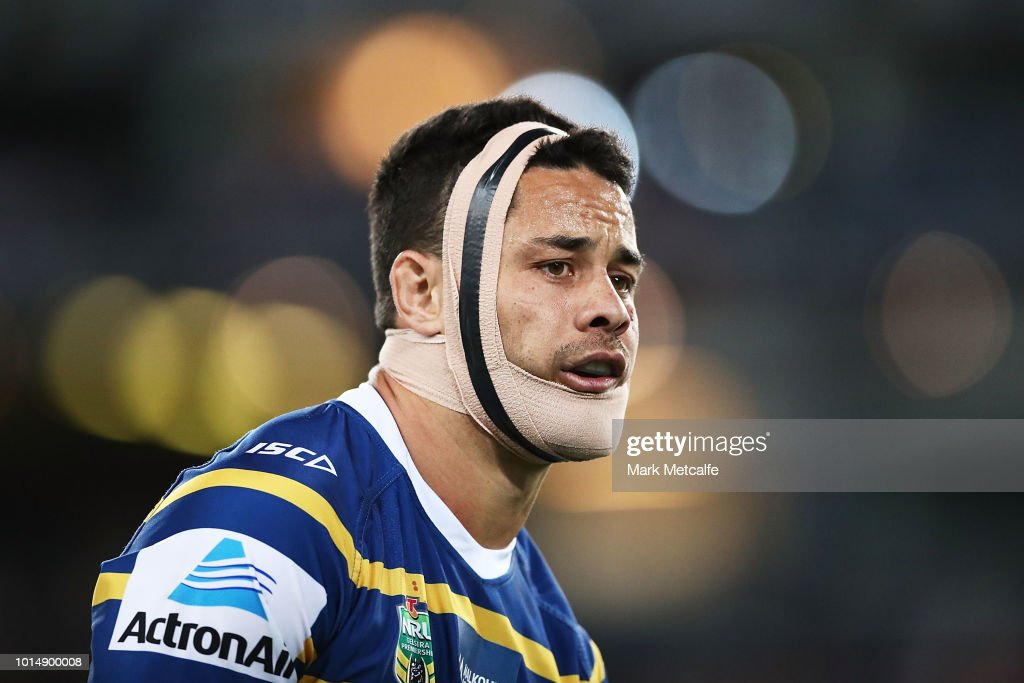 Jarryd Hayne of the Eels looks on during the round 22 NRL match between the Parramatta Eels and the St George Illawarra Dragons at ANZ Stadium on August 11, 2018 in Sydney, Australia.