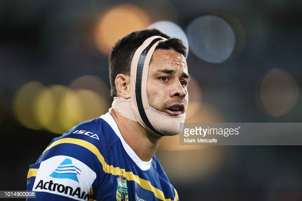 Jarryd Hayne of the Eels looks on during the round 22 NRL match between the Parramatta Eels and the St George Illawarra Dragons at ANZ Stadium on...