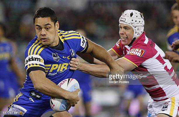 Jarryd Hayne of the Eels looks to pass the ball during the round 16 NRL match between the Canberra Raiders and the Parramatta eels at Canberra...