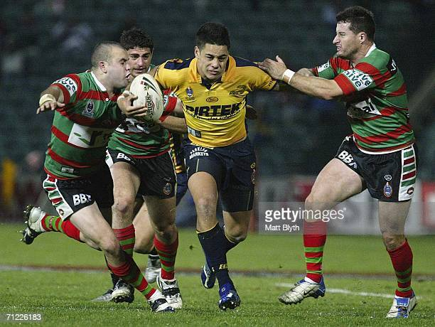 Jarryd Hayne of the Eels makes a break during the round 15 NRL match between the Parramatta Eels and the South Sydney Rabbitohs at Parramatta Stadium...