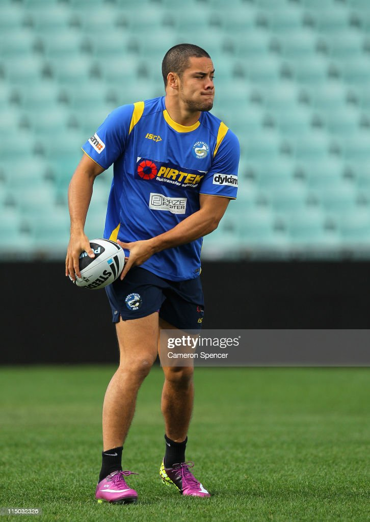Jarryd Hayne of the Eels passes during a Parramatta Eels NRL training session at Parramatta Stadium on June 2, 2011 in Sydney, Australia.