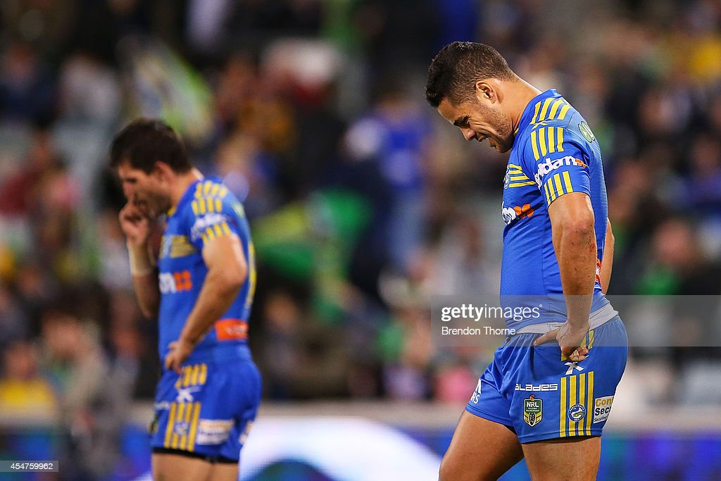 Jarryd Hayne of the Eels shows his dejection at full time during the round 26 NRL match between the Canberra Raiders and the Parramatta Eels at GIO Stadium on September 6, 2014 in Canberra, Australia.