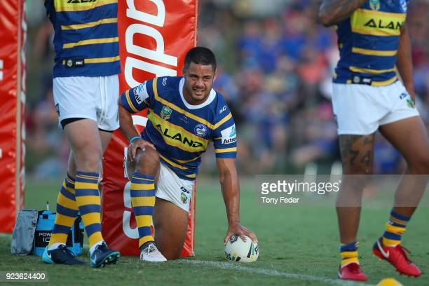 Jarryd Hayne of the Eels warms up during the NRL Trial Match between the Newcastle Knights and the Parramatta Eels at Maitland No 1 Showground on...