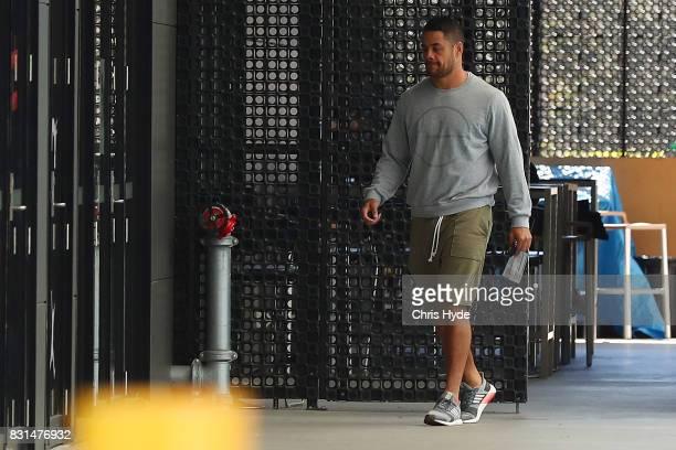 Jarryd Hayne of the Gold Coast Titans leaves Titans Headquarters on August 15 2017 in Gold Coast Australia