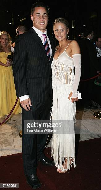 Jarryd Hayne of the Parramatta Eels and his partner arrive at the Dally M Awards at Sydney Town Hall September 5 2006 in Sydney Australia The Dally M...